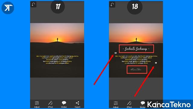 Cara Membuat Quotes Keren Kekinian Dua Warna di Picsay Pro