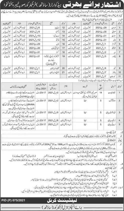 Latest Jobs in Pakistan Frontier Corps KPK Jobs 2021
