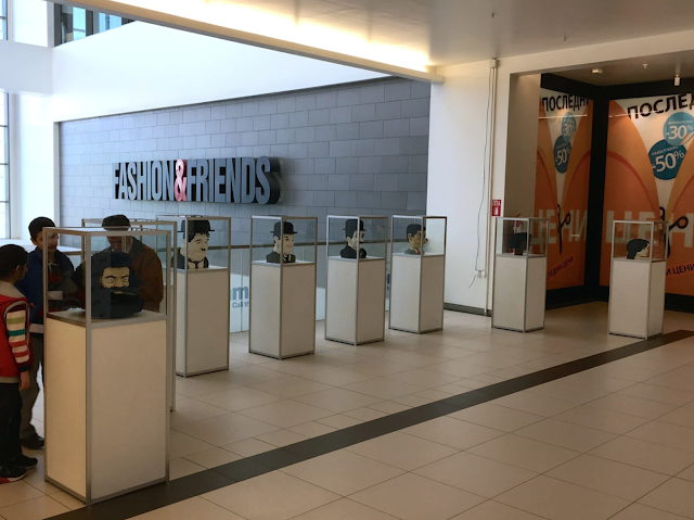 skopje city mall, exposition, lego, heads