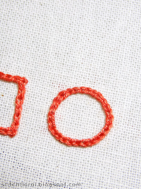 Reverse chain stitch: seamless squares and circles