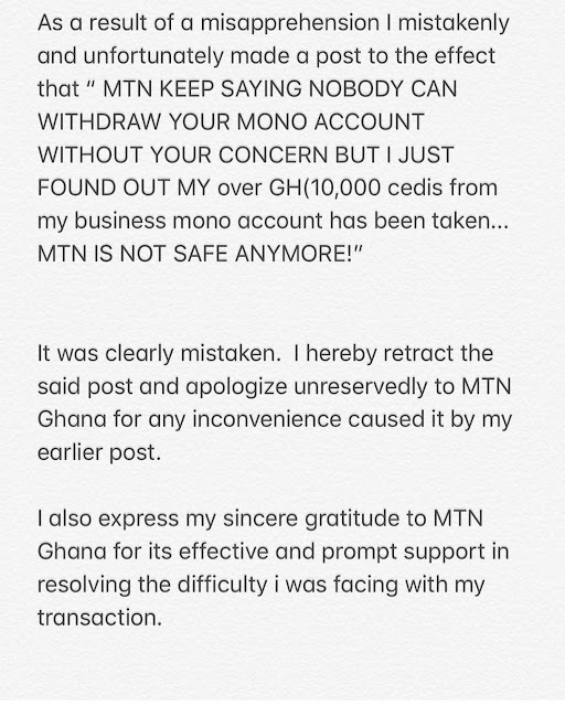 Breaking! Ghanaian Actress Apologizes For Accusing MTN Of Theft