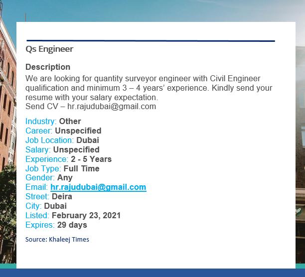Qs Engineer Job Vacancy - Dubai