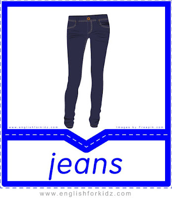 Jeans - English clothes and accessories flashcards for ESL students