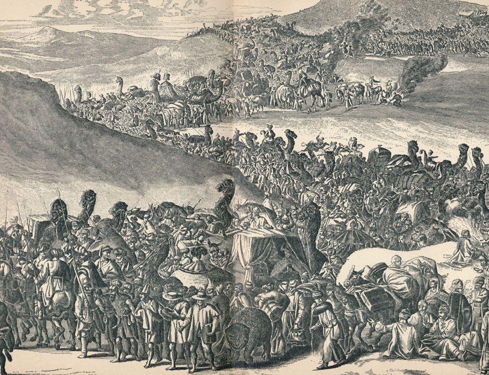 Mansa Musa's caravan on the way to Mecca.