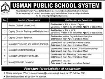 JOBS | Usman Public School System