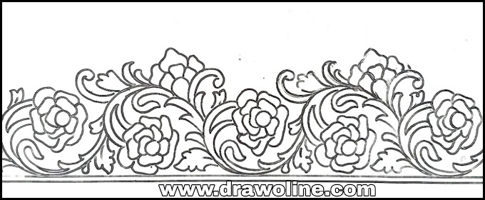 latest saree border design drawing easy,embroidery saree border design drawing