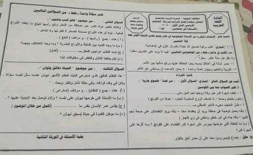 ورقة امتحان اللغة العربية للصف الثالث الاعدادى ترم ثاني 2018 محافظة المنوفية