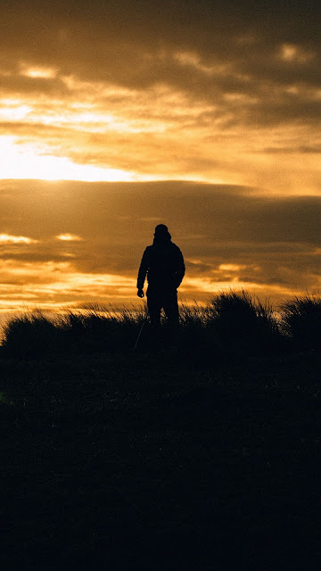 HD wallpaper lonely man, sunset, silhouette, evening