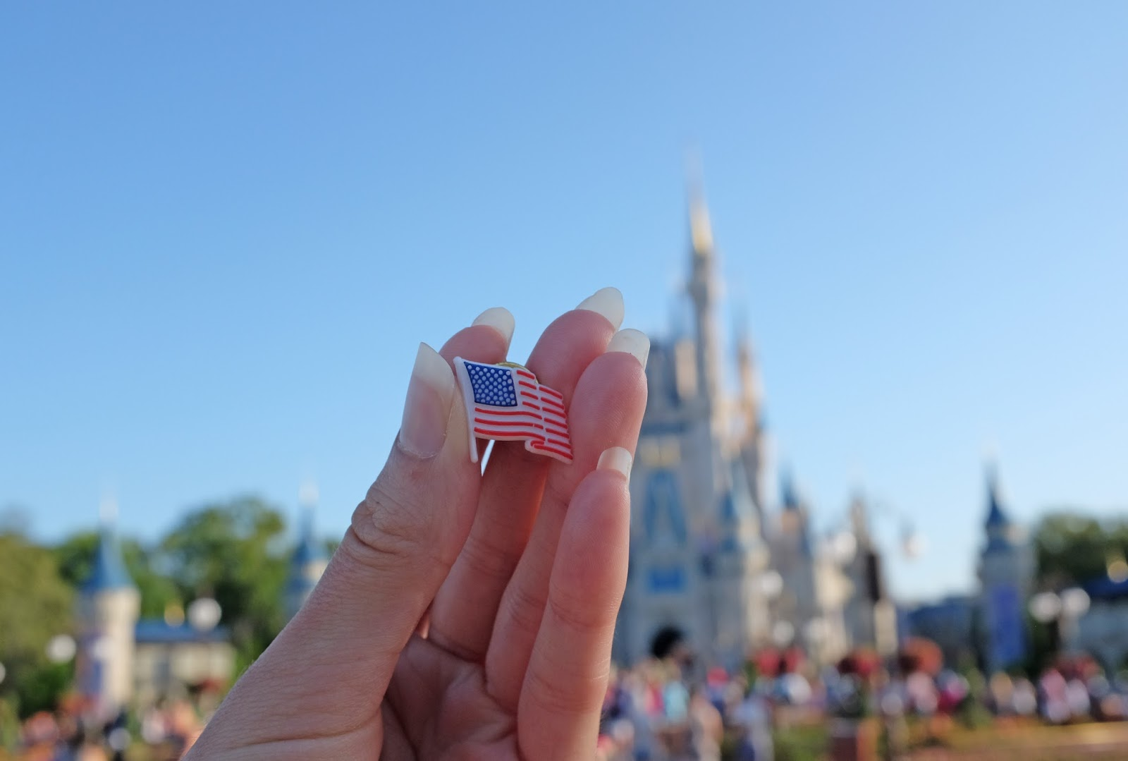 USA flag pin in front of Cinderella's Castle, Magic Kingdom