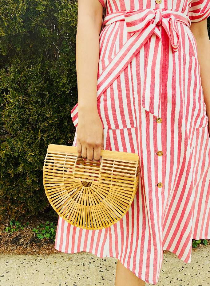 Linen Midi Dress, Linen Dresses For Summer, Striped Linen Midi Dress. Mango Linen Dress, Mango Linen Striped Dress, Cult Gaia Ark Bag