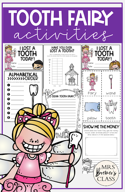 Tooth Fairy activities, worksheeets, and certificates for students losing a tooth in Kindergarten and First Grade