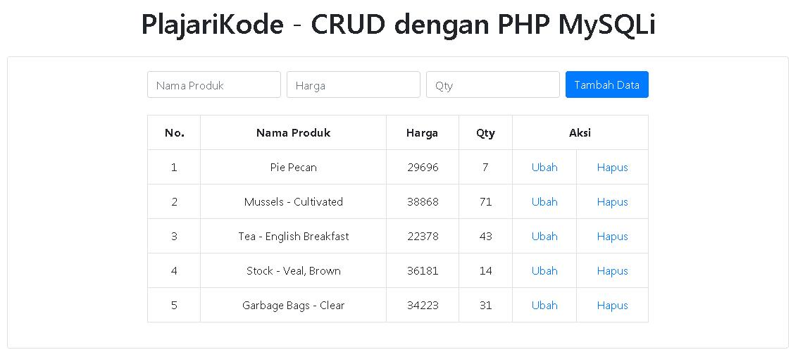 PlajariKode - CRUD dengan PHP MySQLi