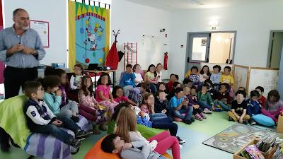 Um grupo de alunos do 1º ciclo sentado no chão e em sofás, na biblioteca escolar, ouve o professor bibliotecário falar da biblioteca.