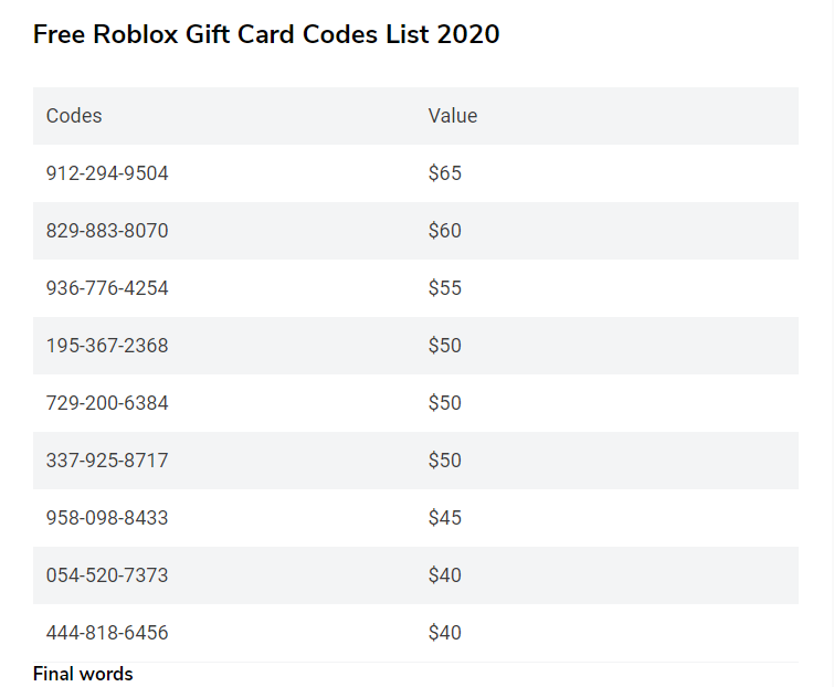 How To Get Free Roblox Gift Card Codes 2020