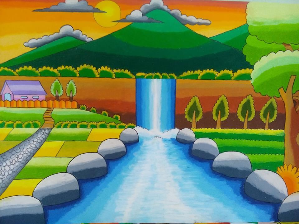 44 Gambar Pemandangan Gunung Pakai Crayon Gratis Terbaru