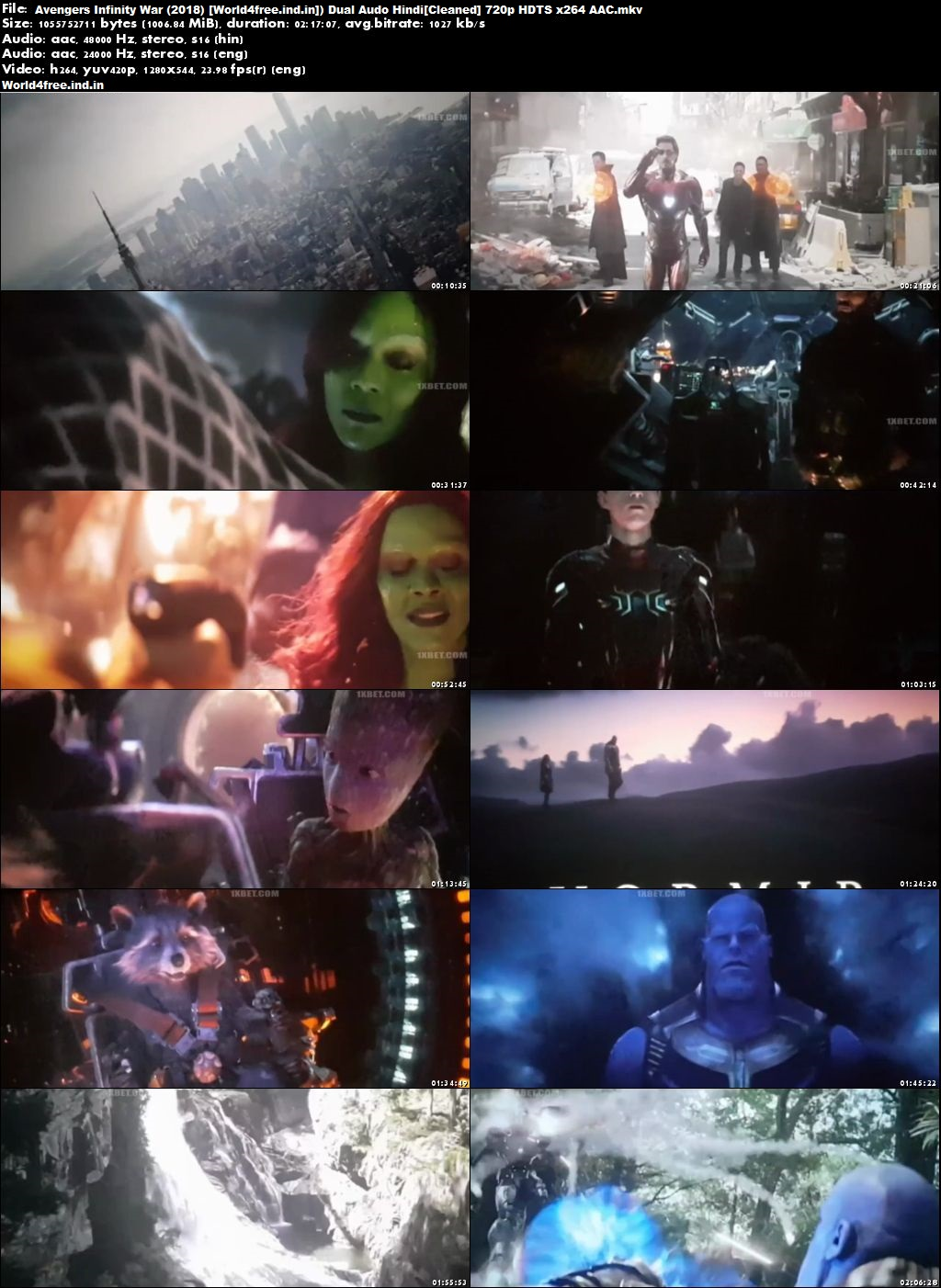 Avengers: Infinity War 2018 world4freeus Full HDTS Hindi Movie Download Dual Audio