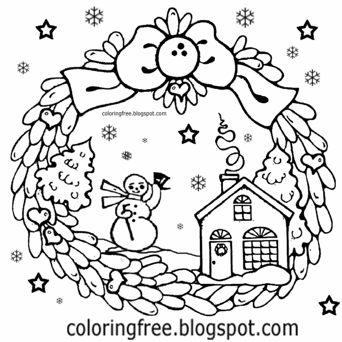 Mr Snowman On Christmas Touching A Snowflake Coloring Page: Free Coloring Pages Printable Pictures To Color Kids