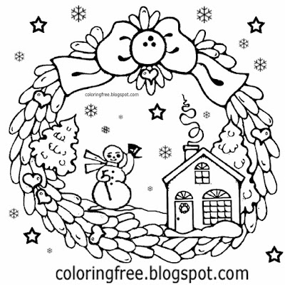 Winter holly wreath great ideas for teenagers clip art Christmas drawings to print doodling activity