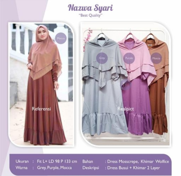 Jual Baju Busana Muslim Dress Nazwa Syari