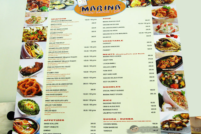 Menu of Marina Seafood Restaurant