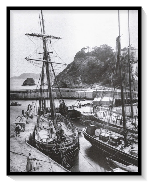 Sailing ships in 1880 in Charlestown Harbour, Cornwall