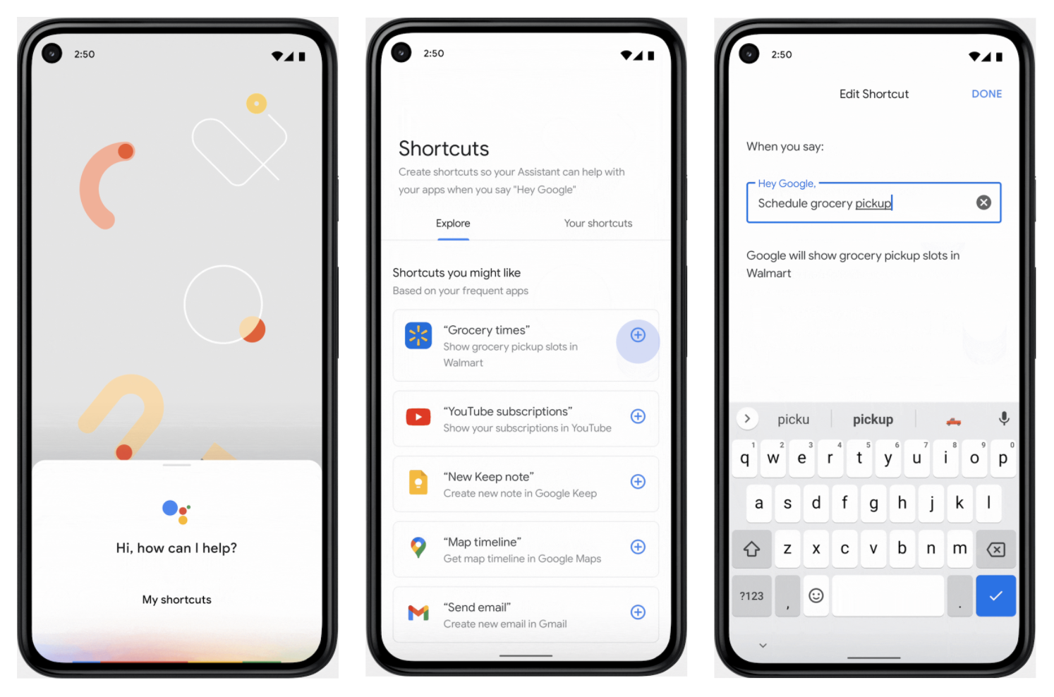 3 phones showing shortcuts from Assistant