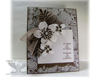 Crafty Colonel Donna Nuce for Cards in Envy Challenge blog, Stampin'Up Something Lacy, Botanical Builder Framelits, Best of Greetings Wedding Card