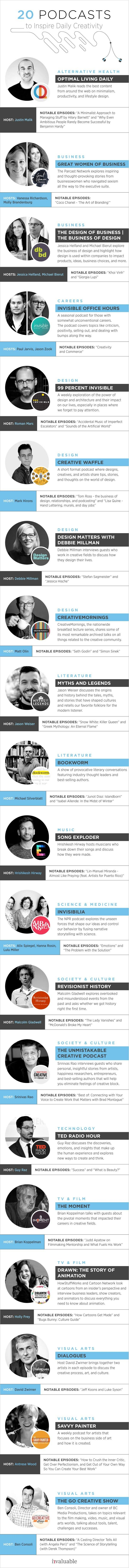 20 Podcasts to Inspire Daily Creativity - #infographic