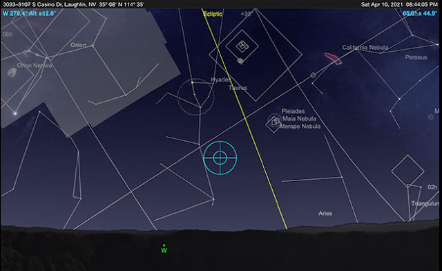 Sky Safari Pro screenshot for location of ecliptic for Laughlin, NV (Source: Palmia Observatory)
