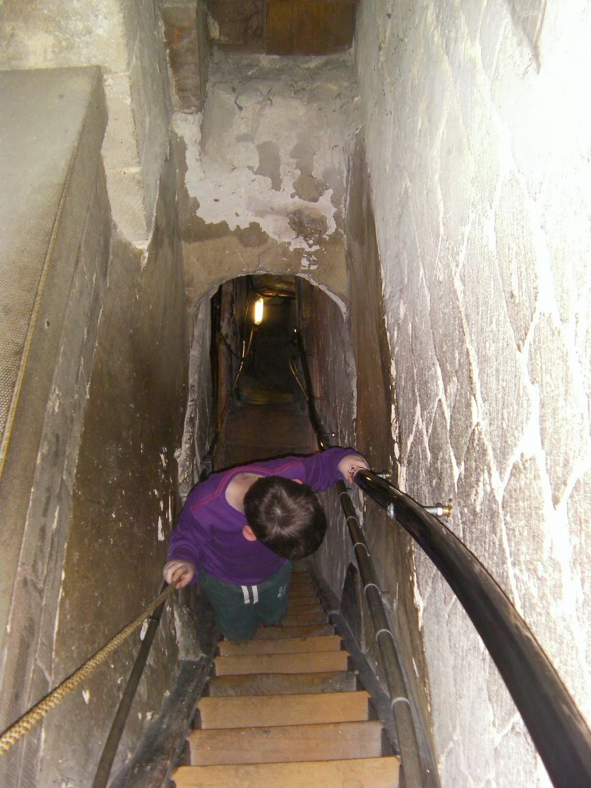 have to go backwards down narrow medieval staircase