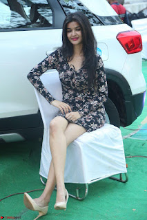 Kritika Telugu cinema Model in Short Flower Print Dress March 2017