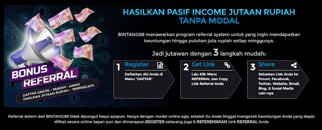 BONUS REFERRAL BINTANG88