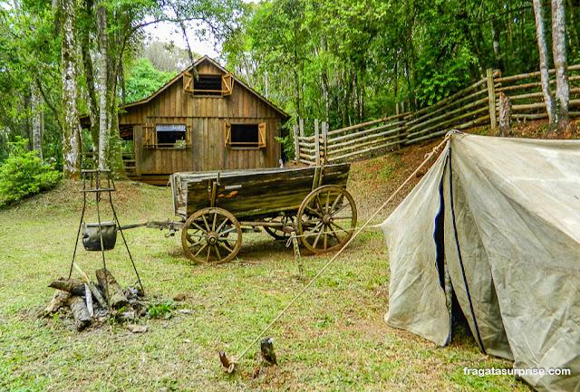 Recriação de acampamento de tropeiros no Parque Histórico do Iguassu, União da Vitária, Paraná