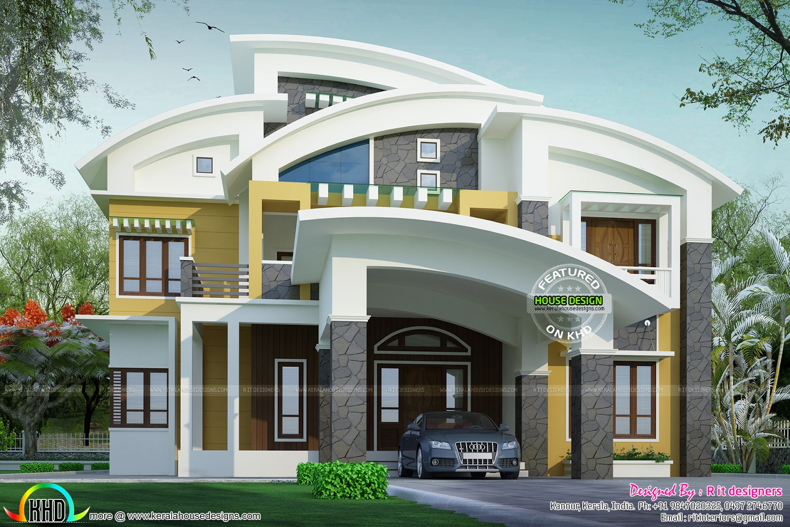 Beautiful contemporary curved roof house kerala home for Curved roof house plans
