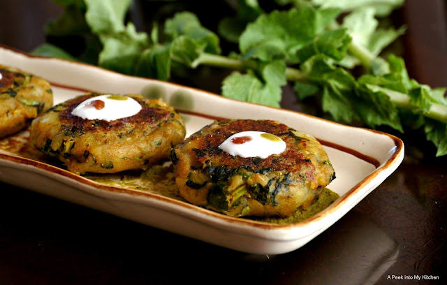 Radish Greens Aloo Tikki (Potato Patties) ~ Day 120