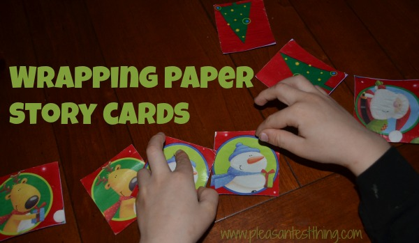Make your own story cards using wrapping paper scraps