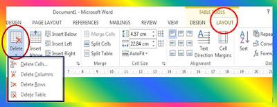 MS Word 2013 delete options