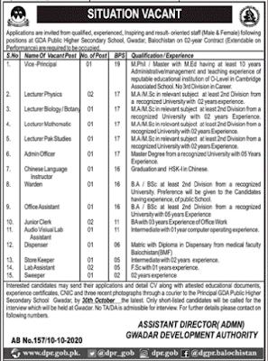 Latest GDA Public Higher Secondary School Gwadar Jobs 2020