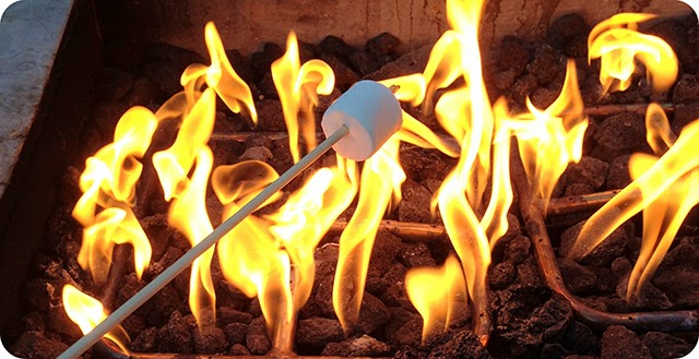 Marshmallow na fogueira
