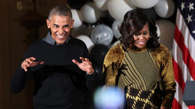 Barrack and Michelle Obama dance to 'Thriller' at the White House Halloween party