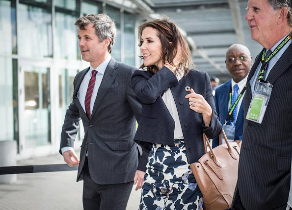 Crown Princess Mary opens Women Deliver Conference 2016 at Bella Center in Copenhagen. Crown Prince Frederik, Crown Princess Mette-Marit, Princess Benedikte and Princess Mabel. Princess Mary wore Hugo Boss skirt