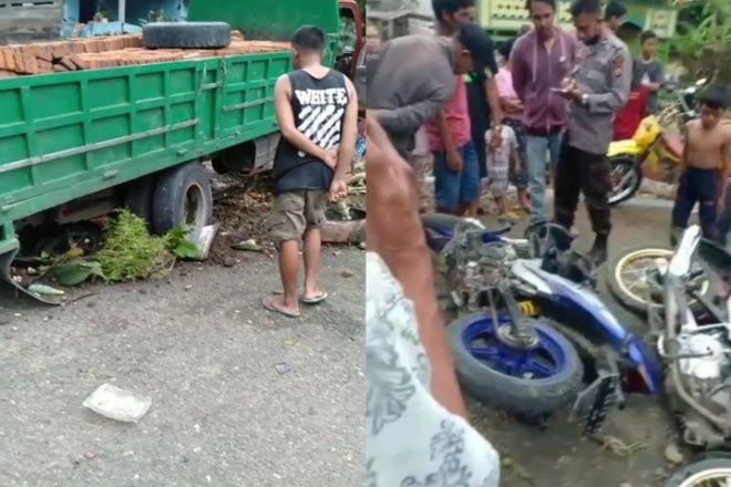 Kecelakaan di Bone, Truk Pengangkut Bata Tabrak 4 Motor