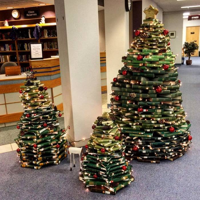 A stack of green books - the best Christmas tree