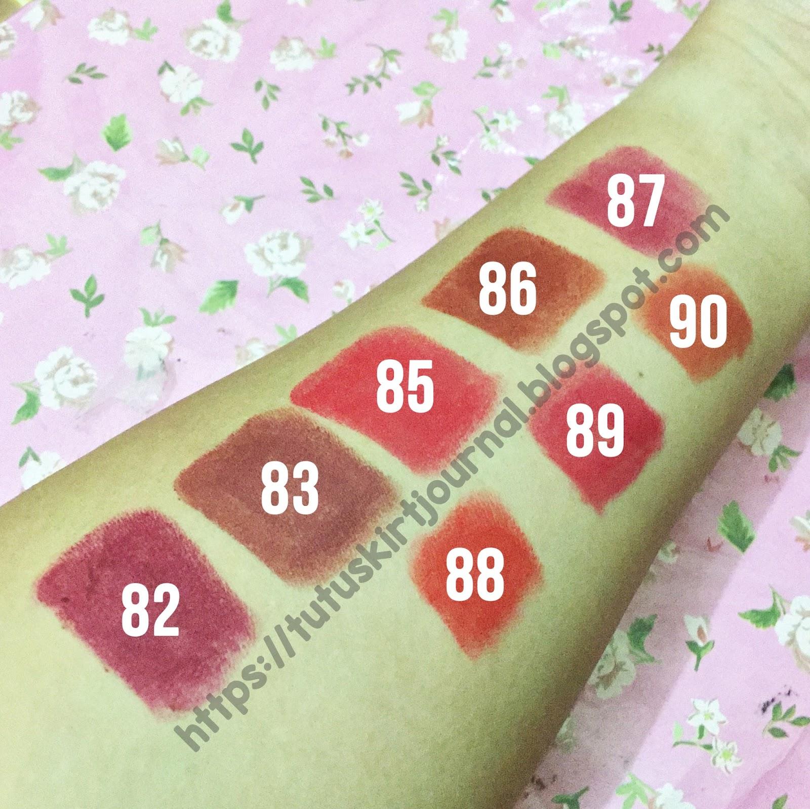 Tutuskirtjournal Review Purbasari Lipstick Color Matte Lipstik Collor Swatch 8 Shade Tanpa Flash