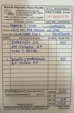 GRAND MAJESTIC GALAPAGOS CRUISE: Factura impaga - Unpaid bill
