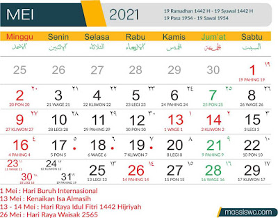 Template Kalender 2021 Bulan Mei