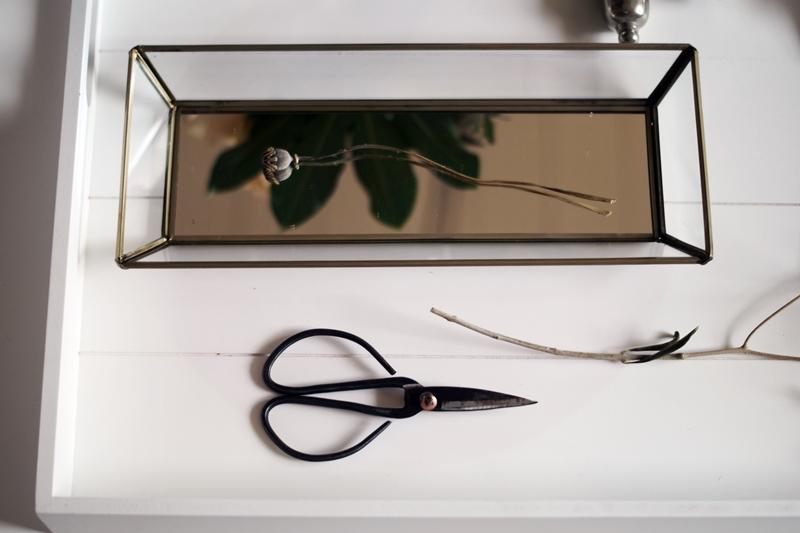 Blog + Fotografie by it's me! - verglastes Tablet, alte Schere und Mohnkapsel auf weißem Tablett