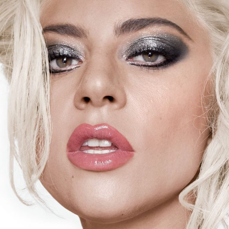 Lady Gaga poses in silver eyeshadow look from Haus Laboratories