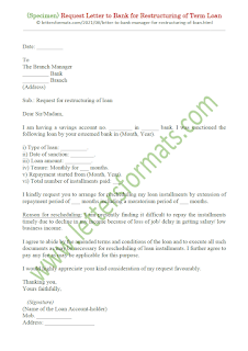letter to bank manager for restructuring of loan