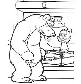 מאשה והדוב ציורים לצביעה לילדים
